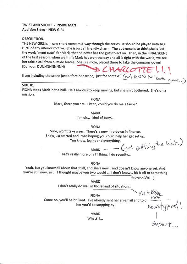 Inside Man S1 script scans